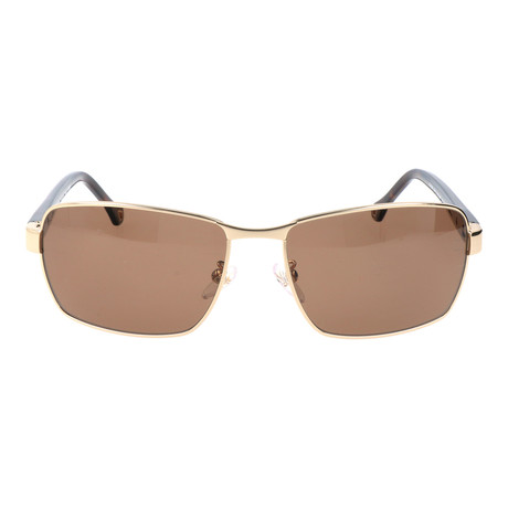 High Bridge Rectangular Metal Sunglasses // Brown + Gold