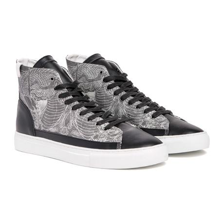Dragon Print Hi-Top Sneaker // Black