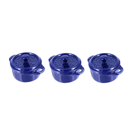 Mini Round Cocotte // Dark Blue // Set of 3
