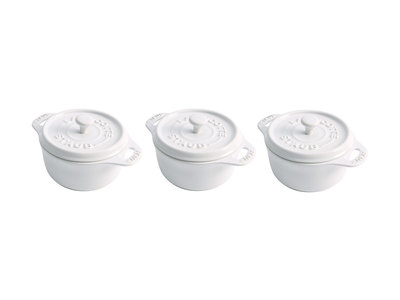 INOpets.com Anything for Pets Parents & Their Pets Staub Professional Cooking Ceramics Mini Round Cocotte // White // Set of 3