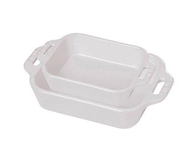 INOpets.com Anything for Pets Parents & Their Pets Staub Professional Cooking Ceramics Rectangular Baking Dish // White // Set of 2