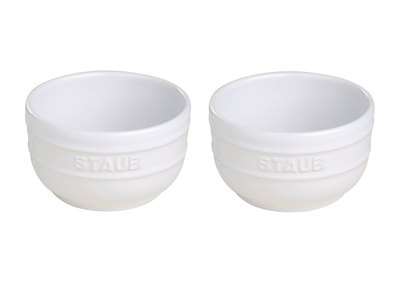 INOpets.com Anything for Pets Parents & Their Pets Staub Professional Cooking Ceramics Prep Bowl Set // White // Set of 2