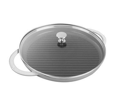 "Staub French Cast-Iron Cookware Round Steam Grill // White (10"" Grill)"