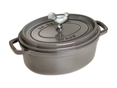 INOpets.com Anything for Pets Parents & Their Pets Staub French Cast-Iron Cookware Coq au Vin Cocotte // Graphite Gray
