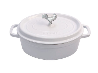 INOpets.com Anything for Pets Parents & Their Pets Staub French Cast-Iron Cookware Coq au Vin Cocotte // White