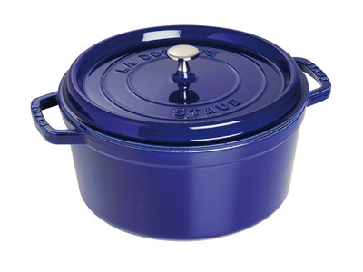 INOpets.com Anything for Pets Parents & Their Pets Staub French Cast-Iron Cookware Round Cocotte // Dark Blue (5.5 qt)
