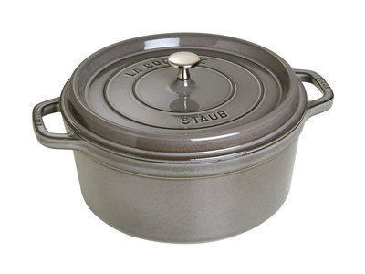 INOpets.com Anything for Pets Parents & Their Pets Staub French Cast-Iron Cookware Round Cocotte // Graphite Gray (5.5 qt)