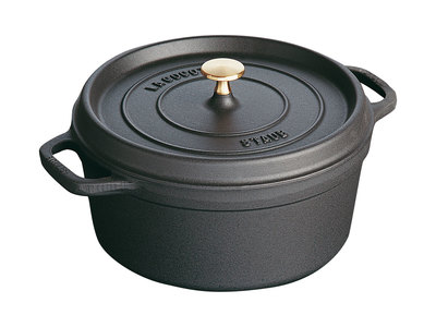 INOpets.com Anything for Pets Parents & Their Pets Staub French Cast-Iron Cookware Round Cocotte // Matte Black (5.5 qt)