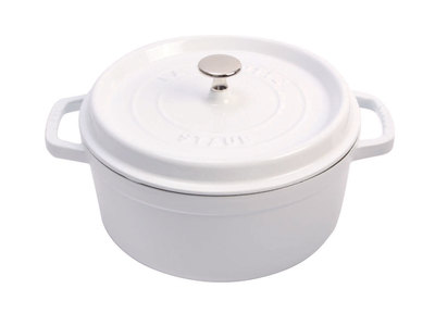 INOpets.com Anything for Pets Parents & Their Pets Staub French Cast-Iron Cookware Round Cocotte // White (5.5 qt)