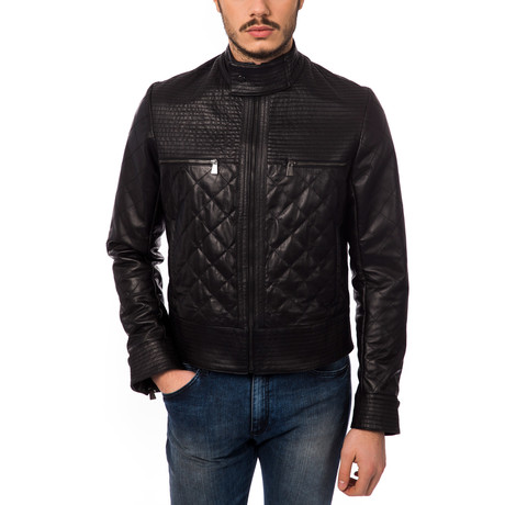 Quilted Leather Jacket // Nero