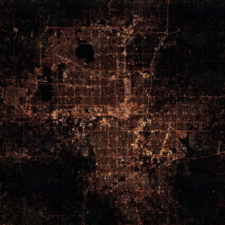 Oklahoma City, OK at Night (Unframed // 12″W x 12″H)