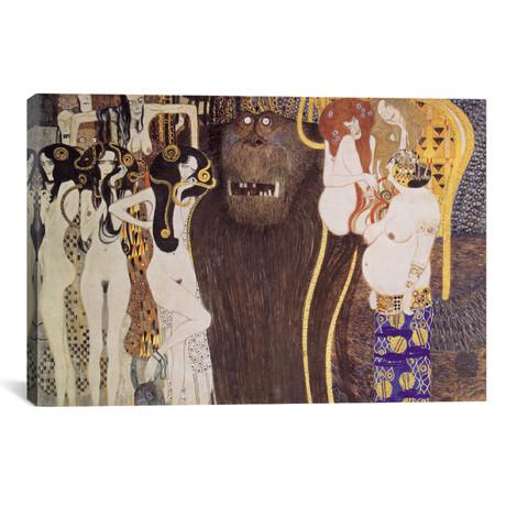 """Die feindlichen Gewalten (The Hostile Forces) // Gustav Klimt (40""""W x 26""""H x 1.5""""D)"""