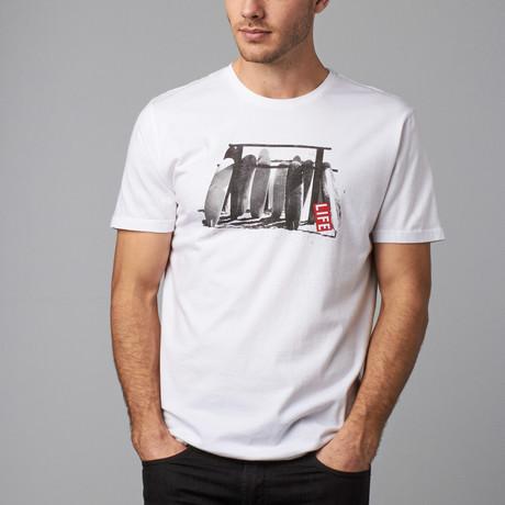 Vintage Longboard Rack LIFE T-Shirt // White