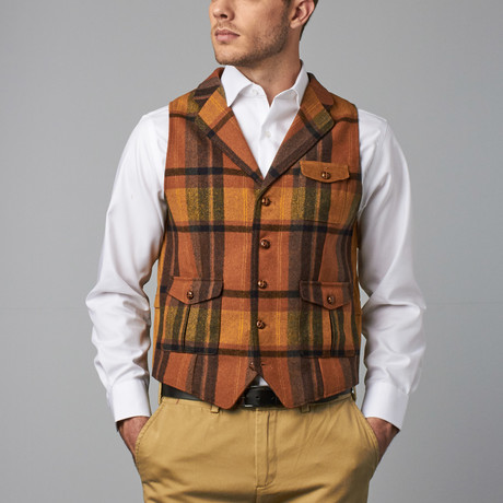 Plaid Vest // Rust (XS)