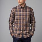 Woven Button Down Shirt // Brown + Tan Plaid (XS)