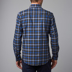 Woven Spread Collar Shirt // Blue + Gray Plaid (XS)