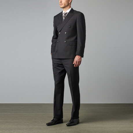 Mantoni Prunelle Weave Wool Double Breasted Suit // Dark Gray