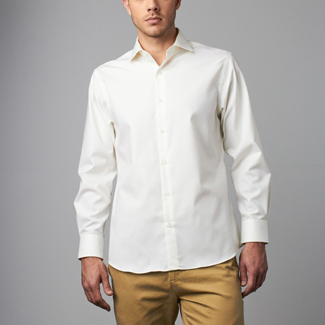 Long-Sleeve Non-Iron Pinpoint Ox Modern Fit Dress Shirt // Cream