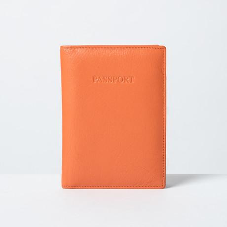 Soft Leather Passport Wallet // Orange