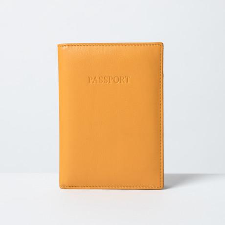 Soft Leather Passport Wallet // Mustard