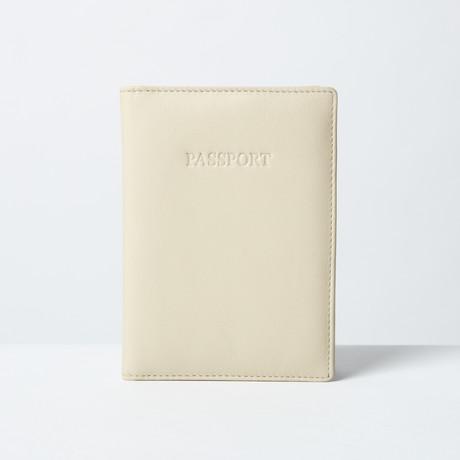 Soft Leather Passport Wallet // Cream