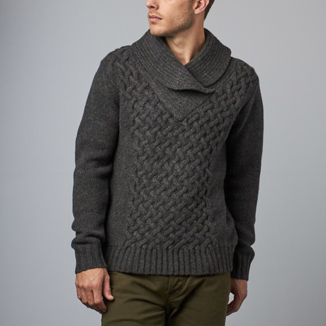 Loft 604 // Wool Shawl Collar Pullover // Charcoal (S)
