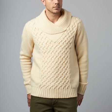 Loft 604 // Wool Shawl Collar Pullover // Ivory (S)