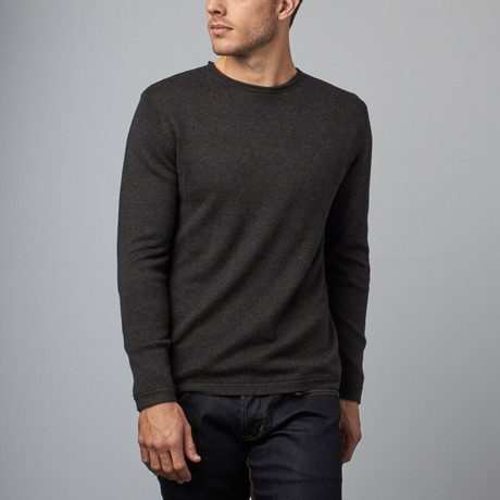 Loft 604 // Cashmere Blend Reversible Stripe Crew // Charcoal (S)
