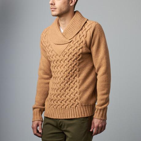 Loft 604 // Wool Shawl Collar Pullover // Camel (S)