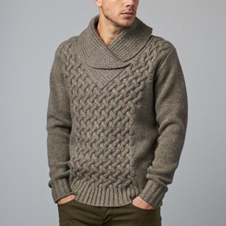 Cesarani // Wool Shawl Collar Pullover // Moss