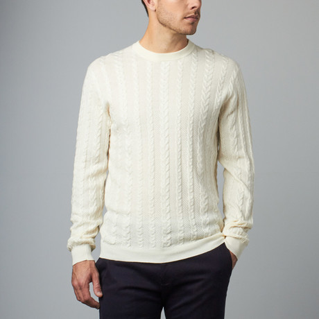 Loft 604 // Cashmere Blend Herringbone Cable Crew // Ivory (S)