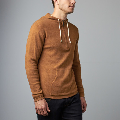 Cashmere Blend Reversible 3 color stripes Hoodie // Camel