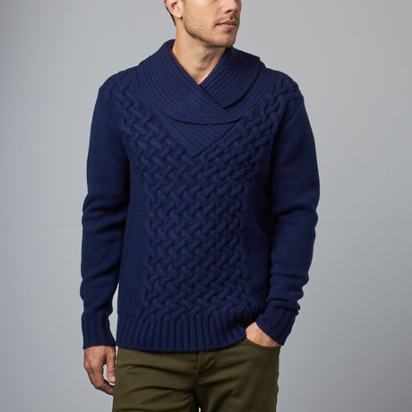 Loft 604 // Wool Shawl Collar Pullover // Navy (S)
