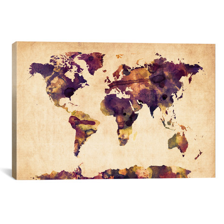 Urban Watercolor World Map VI