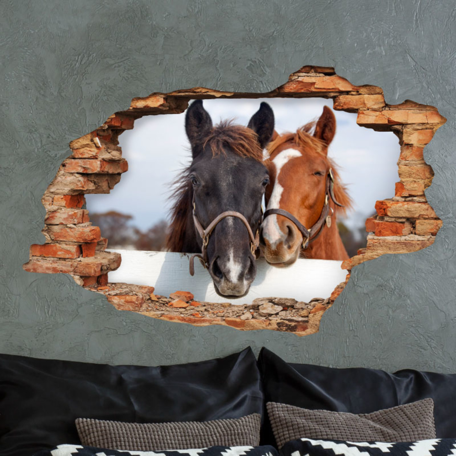 a love of horses 3d decals touch of modern. Black Bedroom Furniture Sets. Home Design Ideas