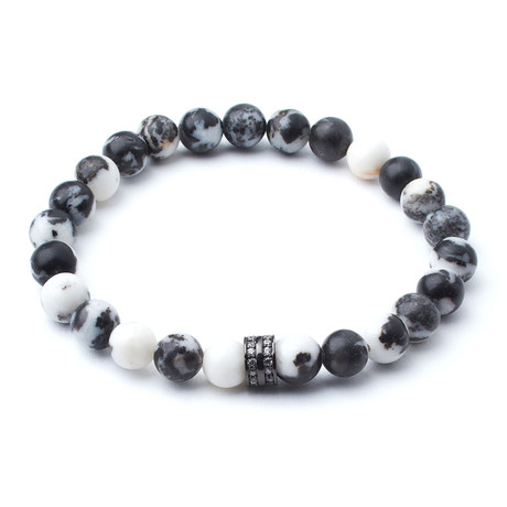 Zebra Jasper Beads + Gunmetal Pavé Accent // 8mm Beads