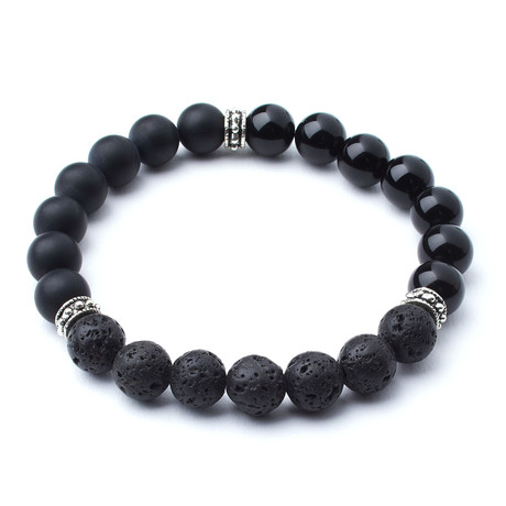 Polished Black Onyx + Matte Black Onyx + Lava // 10mm Beads