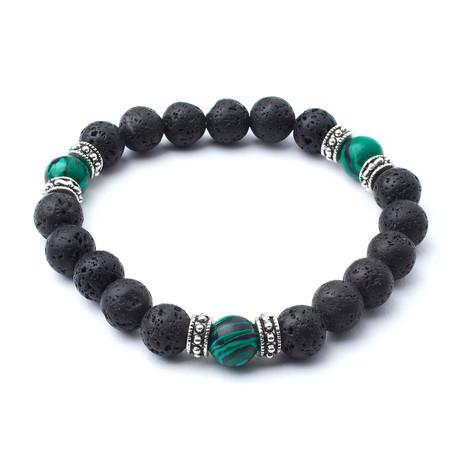 Lava Beads + Malachite Accent // 10mm Beads