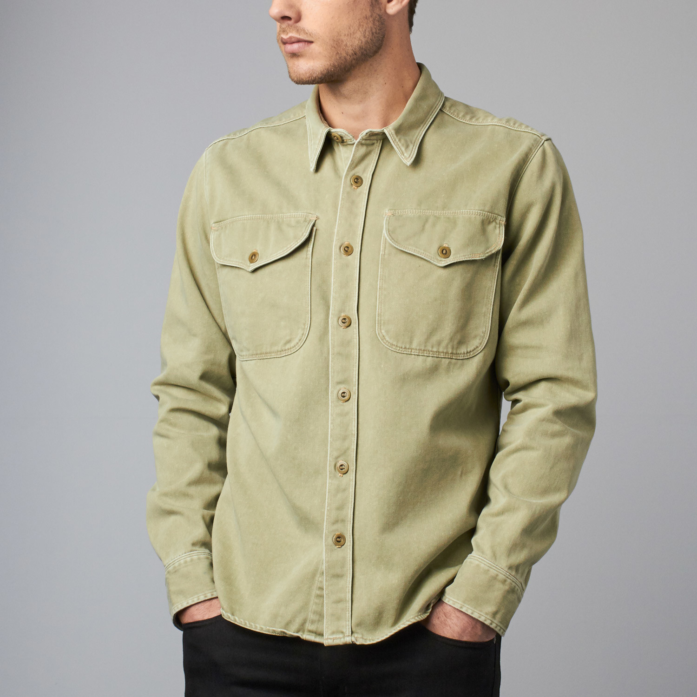 609bbaf37b0 Utility Button-Up Shirt    Army Green (XL) - FreeNote Clothing ...