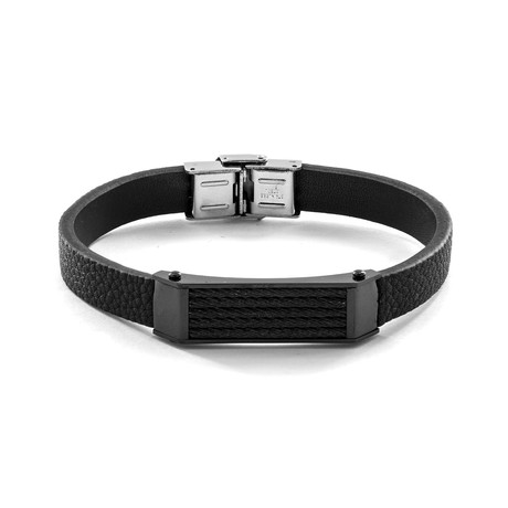 Cable Inlay ID Plate + Leather Bracelet // Black + Silver