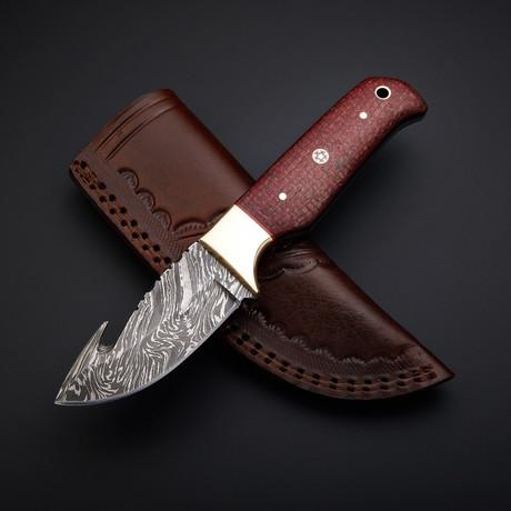 Handmade Damascus Gut Hook Knife + Pouch // GH-02