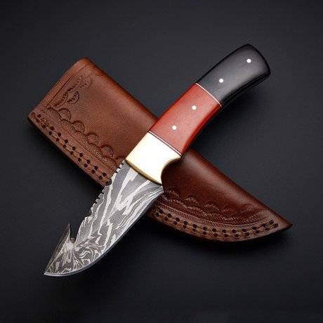 Handmade Damascus Gut Hook Knife + Pouch // GH-03