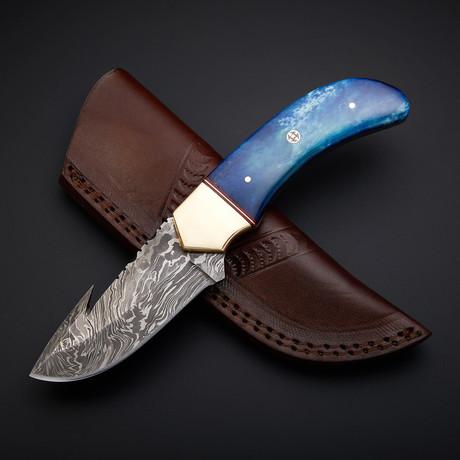 Handmade Damascus Gut Hook Knife + Pouch // GH-01