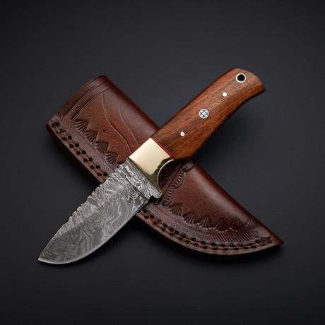 Damascus Handmade Skinner Knife + Pouch // SK-05