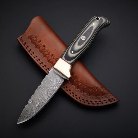 Damascus Handmade Skinner Knife + Pouch // SK-01