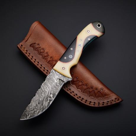 Damascus Handmade Skinner Knife + Pouch // SK-03