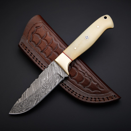 Damascus Handmade Skinner Knife + Pouch // SK-04