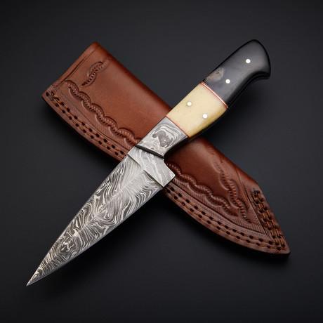 Damascus Handmade Skinner Knife + Pouch // SK-06