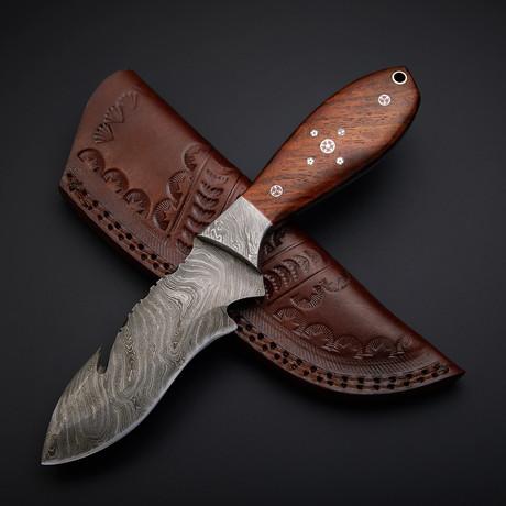 Handmade Damascus Gut Hook Knife + Pouch // GH-04