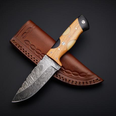 Damascus Handmade Skinner Knife + Pouch // SK-02